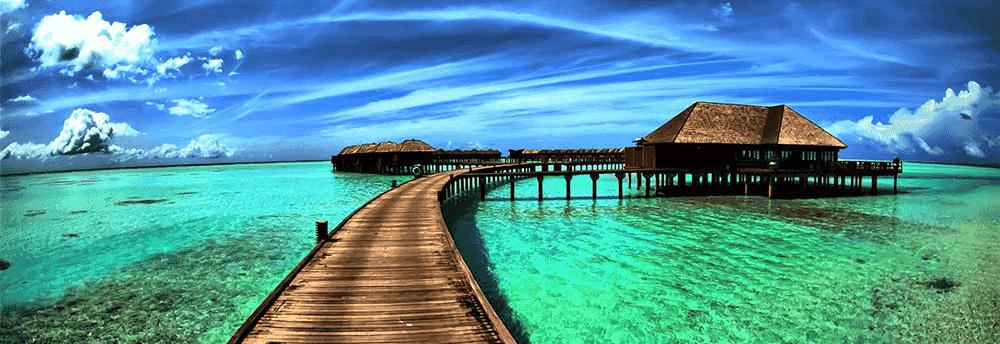 Beach huts in Mauritius