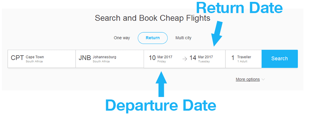 Departure and Return Date Selection
