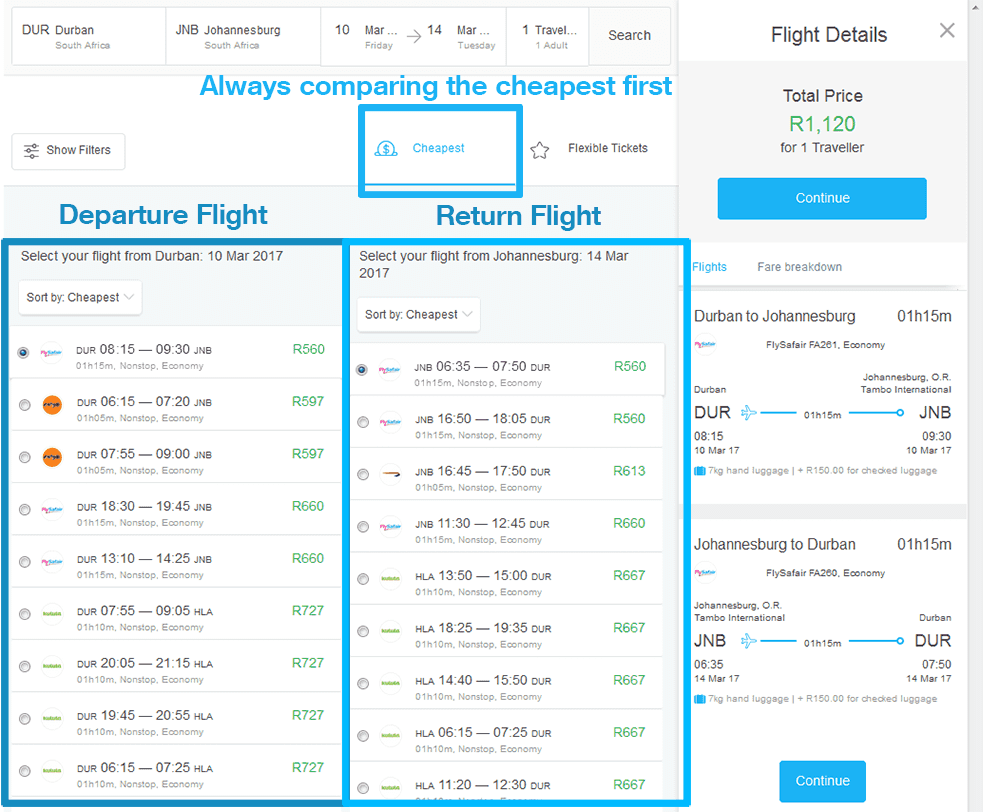 Flight Search Comparison Page